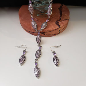Jewelry - Purple glitter necklace and earring set